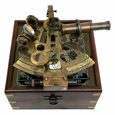 Nautical Maritime Victorian Maritime Brass Sextant With Glass Top Wooden Box