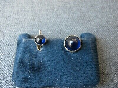 Vintage blue glass cab silvered metal sewing & tuxedo button
