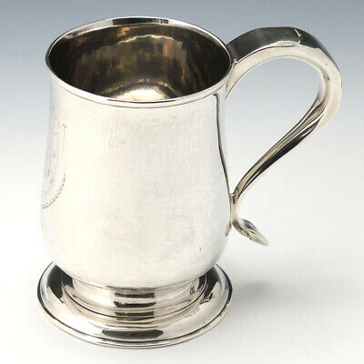 George III Provincial Silver Pint Mug with Whistle Handle Newcastle 1790