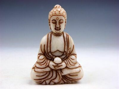 Vintage Jade Stone Carved Sculpture Shakyamuni Buddha Praying #02082001