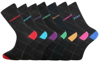 Mens Cotton Socks 7 Pairs Days Of The Week Novelty Fashion Adults 6-11