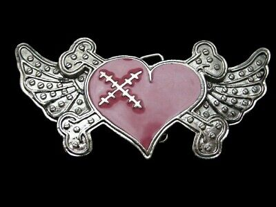 PINK AND RED LOVE SUCKS BELT BUCKLE CROSS BONES HEART METAL B806