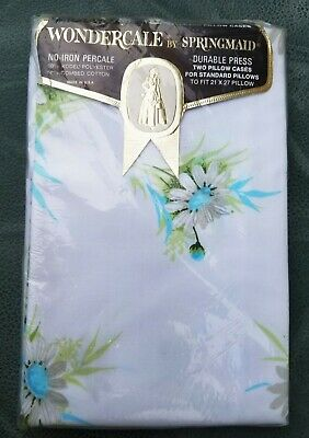 NEW Vintage Springmaid Blue Daisy Wondercale Floral Pillowcases Percale