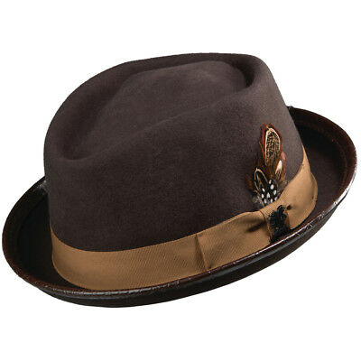 DORFMAN PACIFIC STACY ADAMS Porkpie Shape Breaking Bad Mens BLACK WOOL FELT HAT