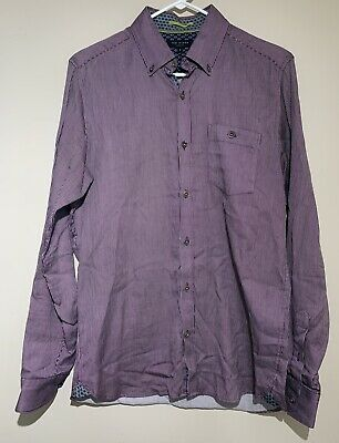 TED BAKER London Men's Long Sleeve Button Front Shirt Purple Flip Cuffs Size 3
