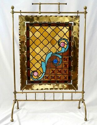 "Antique BRASS + LEADED GLASS Fire Screen. Sapphire + Rose Jeweled. 37""T x 24.5"""