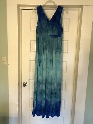 M By Marc Bouwer Ombre/tie Dye Maxi Dress Large Sleeveless V-neck Preowned W/Tag