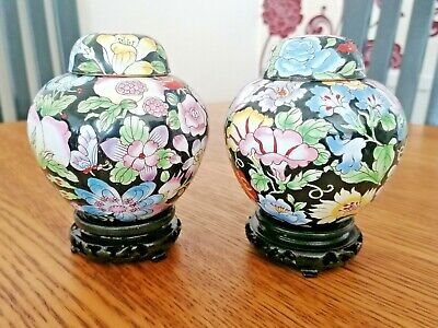 ORIENTAL CLOISONNE GINGER JARS X PAIR X 13cm TALL WITH CARVED WOOD BASES