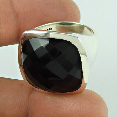 Natural SMOKY QUARTZ Gemstone HANDMADE Jewellery 925 Silver Ring Size S HY72