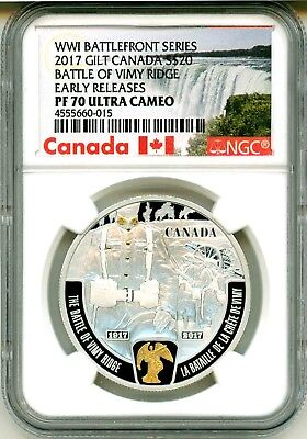 2015 Canada S$20 WWI Battlefront Series Second Battle Of Ypres ER NGC PF70 UC