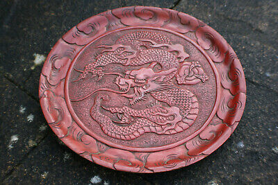Chinese Wooden Red Lacquer Painted Hand Carved Dragon Plate Tray