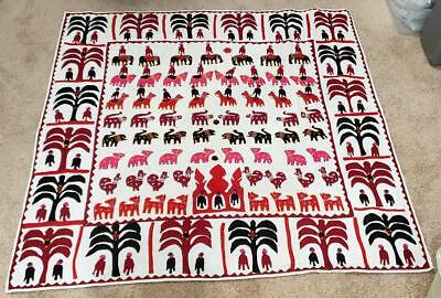 VINTAGE MEXICAN SPANISH Southwestern Folk Art EMBROIDERED APPLIQUE TABLECLOTH