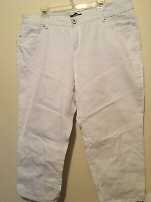 "New Roz & Ali White Capri Pants Sz. 18W Cotton 42"" Waist 20"" Inseam"