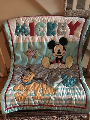 Disney's Mickey Mouse & Pluto Quilted Baby Crib Toddler Bed Blanket
