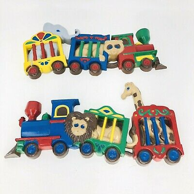Set of 2 Burwood Products Circus Train Wall Hanging Plaque Vintage Nursery