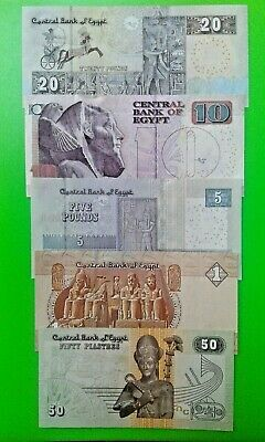 Egypt Banknotes set of 5 pcs. UNC ( 50 Piastres, 1, 5, 10, 20 Pounds ) 2016-2018
