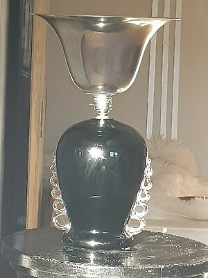 VINTAGE ART DECO 30s BLACK  GLASS & CHROME HEAVY TORCHIERE TRUMPET  LAMP