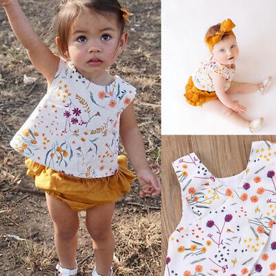 USA Toddler Kid Baby Girl Summer Clothes Floral T Shirt Tops Shorts Outfits Set