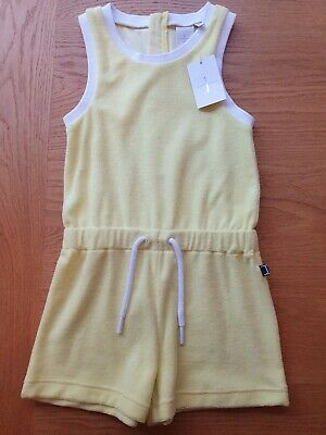 BNWT Girls jasper conran Junior J Yellow Towelling Playsuit Age 3-4 Years