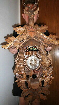 big original cuckoo clock black forest 8 day mechanical 2 melodie with dancer