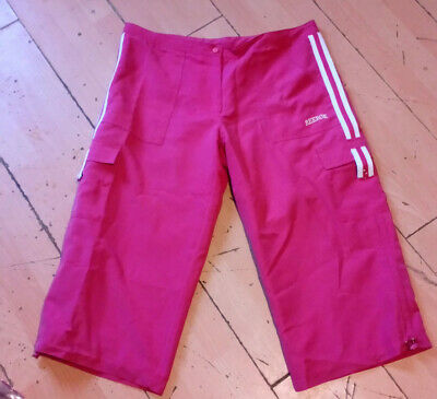 adidas ladies girls hot pink vintage 90s cropped trousers shorts 14