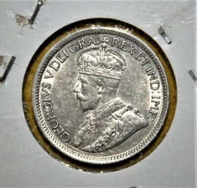 Canada 10 Cents 1918 Uncirculated Silver Coin - King George V