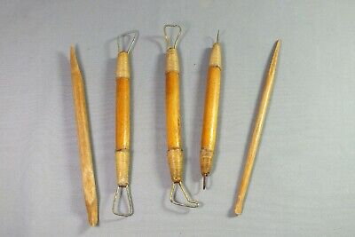 Five Vintage Modelling Tools for Clay Sculpture and Pottery