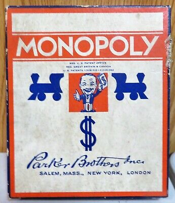 Vintage 1935 Monopoly Game Parker  Brothers With Metal Tokens (No Board)