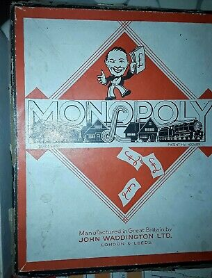 Early Vintage Monopoly Set Austerity, Wartime ? Board tokens, spinner, LNER