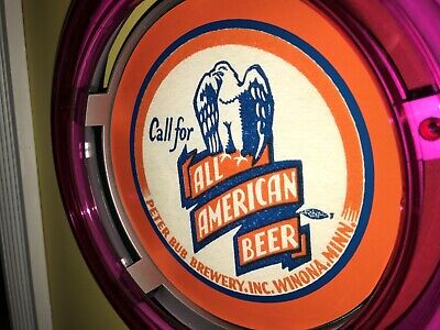 ***All American Winona Minnesota Beer Bar Advertising Man Cave Neon Wall Sign