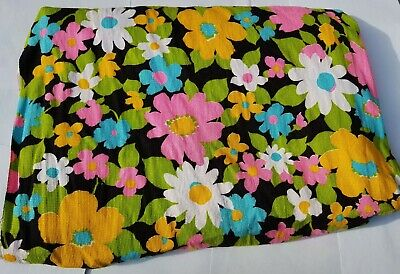 1960s Vintage MOD Floral Cotton Fabric Flower Retro Mid Century