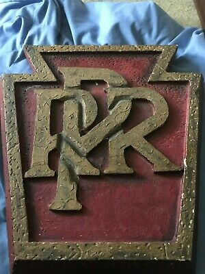 """VINTAGE Pennsylvania Railroad Handpainted & Hand Carved Wooden Sign 15"""" by 14"""""""
