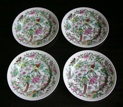 "4 Antique Chinese Export Porcelain Famille Rose Birds & Butterflies 9"" Plates"