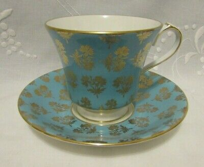 AYNSLEY Turquoise and Gold Chintz Teacup & Saucer, Vintage