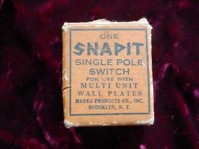 Vintage Snapit single pole bakelite switch for multi unit wall plates in box