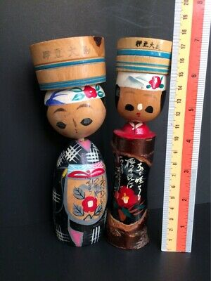 "KOKESHI Japanese Wodden AINU Doll Traditional Hand Painted Craft 2pieces 7""tall"