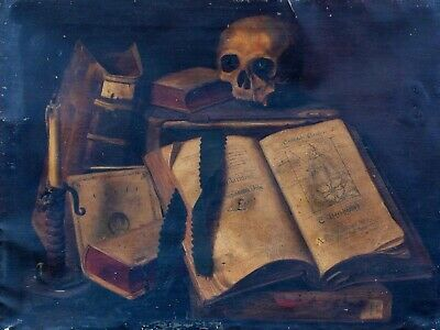 Large 19th Century European Vanitas Memento Mori Skull & Books Still Life