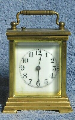 Antique Gilt Brass Waterbury Carriage Clock METEOR REPEATER Bell Strike Vintage