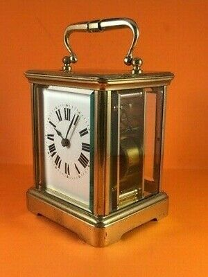 Antique French brass carriage clock & key. Complete overhaul/service Feb. 2020