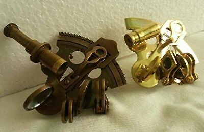 Set of 2 PCS Brass Marine Collectible Sextant Astrolabe Maritime Navigation tool