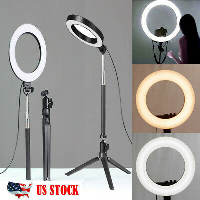 LED Ring Light Dimmable 5500K Lamp Photo Studio Phone Video Photography Camera