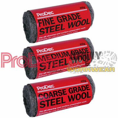 ProDec Steel Wool Wire Smoothing Rust Cleaning Paint Removal Metal Grade 400g