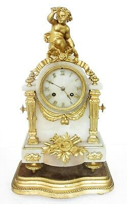 Antique French Alabaster & Gilt Metal Mantel Clock, Cherub, Bell-Striking, C1885