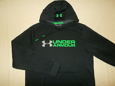 Under Armour Storm Cold Gear Black Hooded Sweatshirt Mens Medium Excellent Cond.