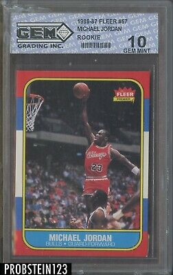 1986 Fleer #57 Michael Jordan Chicago Bulls RC Rookie HOF GEM 10 LIKELY TRIMMED
