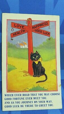 Comic Postcard 1925 Good Luck Charms Swastika Lucky Black Cat Pig Horse Shoe
