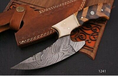 HAND FORGED DAMASCUS STEEL Hunting KNIFE W/ Rose Wood & Olive wood  HANDLE-1331