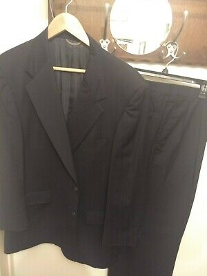 Stafford Mens Black Wool Pinstripe Pleated Front 2 Piece Suit 47 Chest