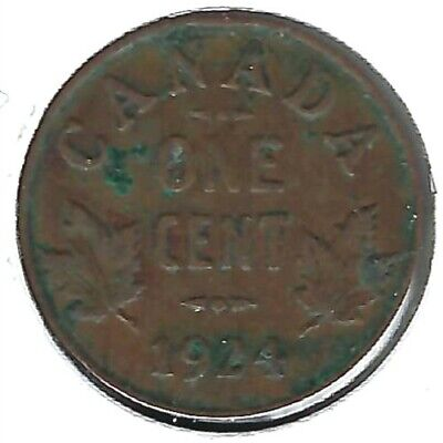 1924 Canadian Circulated George V One Small Cent coin!