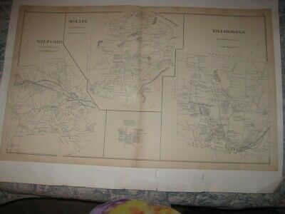 Antique 1892 Milford Hollis Millsborough Nashua New Hampshire Map Detailed Rare